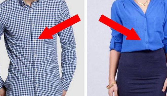 Los botones de las camisas de hombres y mujeres